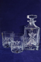 Crystal Cut Decanter & Whisky Glass Set from: